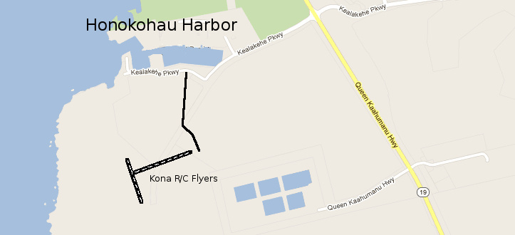 Map of Kona and the Kona R/C Flyers Flying Field