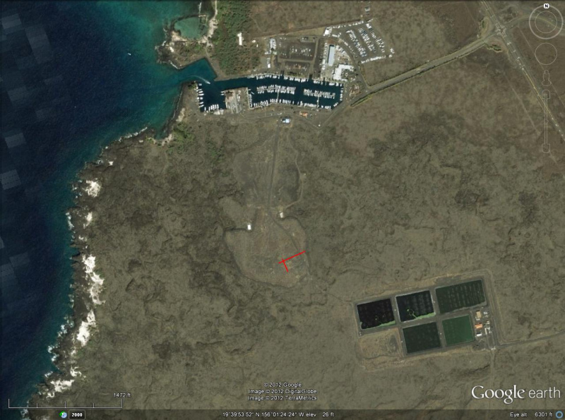 Google Earth image of the Kona R/C Flyers Flying Field
